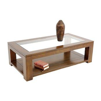 Table basse vitrée hévéa 130X70cm HELENA
