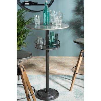 Table haute mange debout rond style bistrot industriel en metal gris