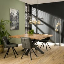 Table a manger carree bois massif pied central mikado style contemporain