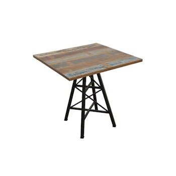 """Table carrée en Hévéa recyclé coloré et pieds métal façon """"Tour Eiffel"""" 80x80x76cm LOFT COLORS"""
