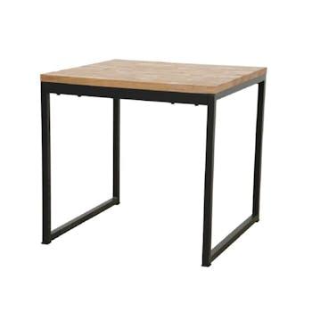 Table carrée en Hévéa recyclé naturel et pieds métal 80x80x76cm LOFT