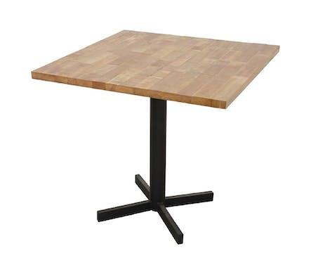 Table carrée en Hévéa recyclé naturel et pieds métal en croix 80x80x76cm LOFT