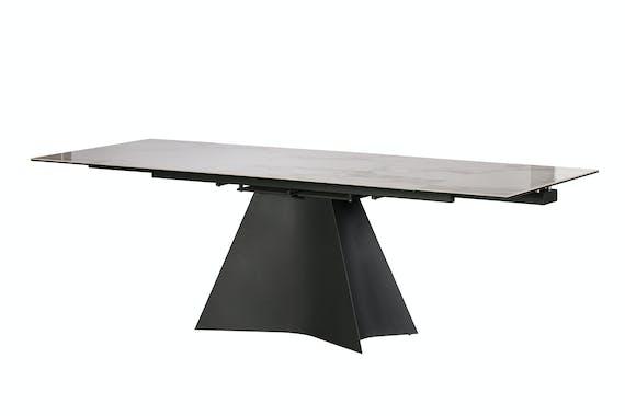 Table de repas extensible ceramique verre et metal style contemporain