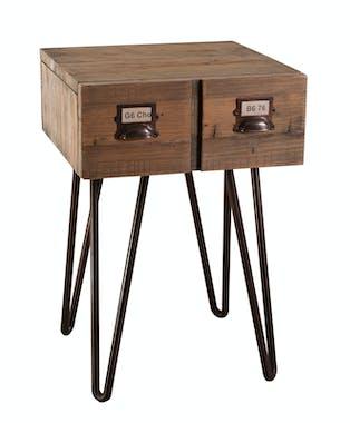 Table d'appoint 1 tiroir pin recyclé 40x38,5x60cm ATELIER
