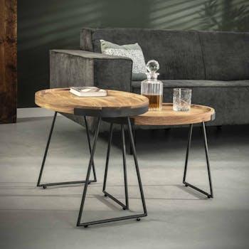 Table d'appoint bois d'acacia ovale (2 pièces) MELBOURNE