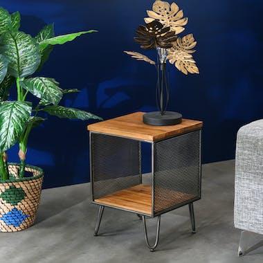 Table d'appoint bois recyclé de teck métal vieilli BALTIMORE