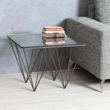 Table d'appoint Bout de Canapé Design verre et métal LOUVRE