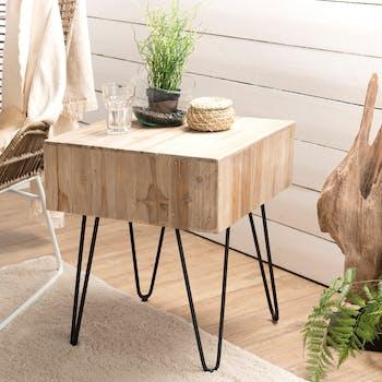 Table d'appoint carrée teck pieds épingle 50x50 cm Jaipur