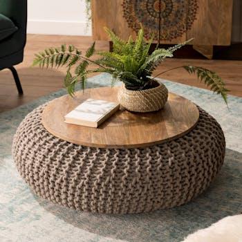 Table d'appoint coton tressé bois MAURAI