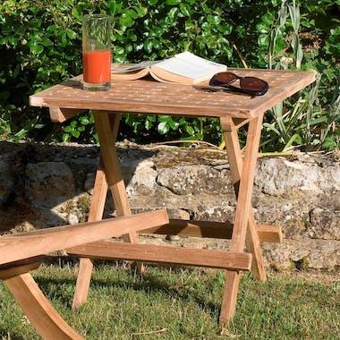 Table d'appoint de jardin en Teck carrée pliante 50cm SUMMER
