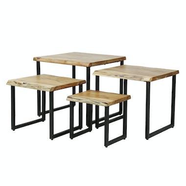 Table d'appoint en bois massif bordures naturelles (lot de 4) MELBOURNE