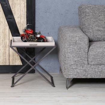 Table d'appoint en métal noir et plateau amovible en bois grisé effet patiné 48x48x47cm