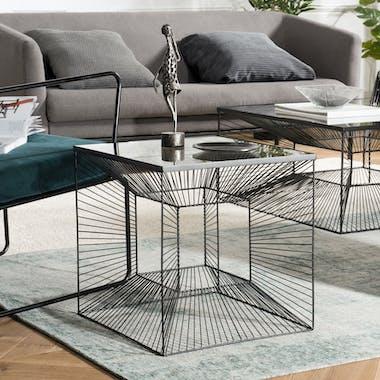 Table d'appoint en verre et métal BANGALORE