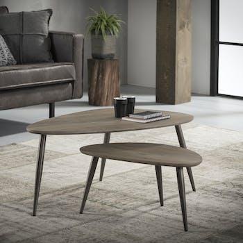 Tables basses gigognes ovales effet bois pieds metal de style contemporain