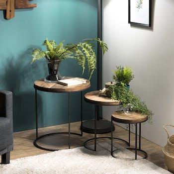 Table d'appoint gigogne bois recyclé (lot de 3) SWING
