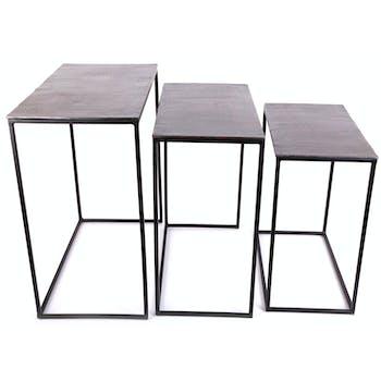 Table d'appoint gigogne rectangle métal bronze (lot de 3)
