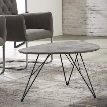 Table basse effet beton pied metal de style contemporain