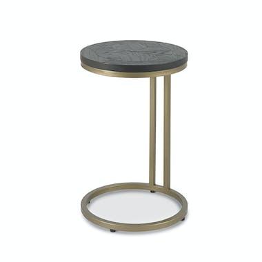 Table d'appoint noire en marqueterie de bois VALLEY
