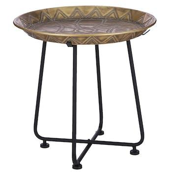 Table d'appoint orientale dorée 45 cm