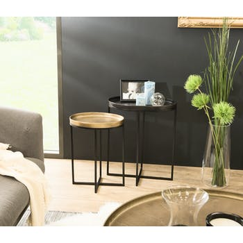 Tables basses gigognes ovales en metal dore et noir style contremporain