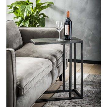Table basse appoint rectangilaire en metal vieillib de style contemporain