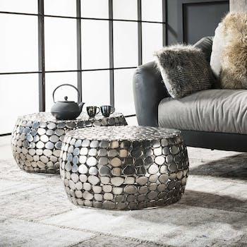 Tables basses rondes en metal de style indutriel