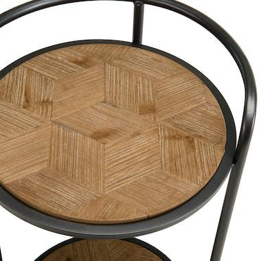Table d'appoint ronde bois de sapin en marqueterie BOSTON