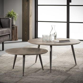Tables basses gigognes effet bois pieds metal de style contemporain