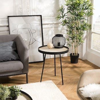 Table d'appoint ronde plateau effet bois clair BANGALORE