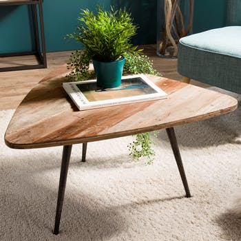 Table d'appoint triangulaire teck recyclé GM SWING