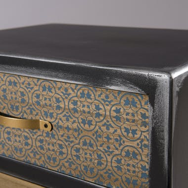 Table de chevet 2 tiroirs patchwork LEONARD