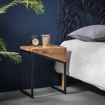 Table de chevet bois d'acacia 1 tiroir (lot de 2 tables, gauche et droite, pour lit 2 personnes) MELBOURNE