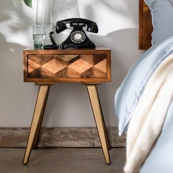 Table de chevet bois et marqueterie SYRACUSE