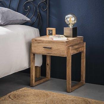 Table de chevet bois sablé 1 tiroir CASABLANCA