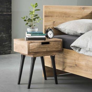 Table de chevet bois sablé 1 tiroir piètement noir CASABLANCA