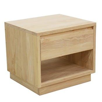 Table de Chevet / Bout de Canapé Hévéa 1 tiroir, 1 niche basse 50x50x50cm BALTIC