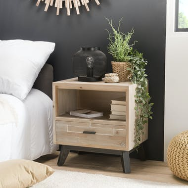 Table de chevet en bois blanchi 1 niche 1 tiroir PHOENIX