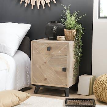 Table de chevet en bois blanchi 1 porte 1 tiroir PHOENIX
