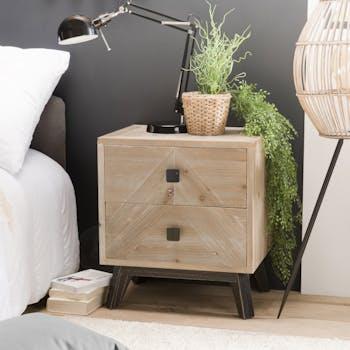 Table de chevet en bois blanchi 2 tiroirs PHOENIX