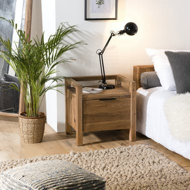 Table de chevet en bois de pin recyclé 1 tiroir DENVER