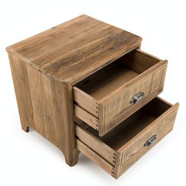 Table de chevet en bois de pin recyclé 2 tiroirs DENVER