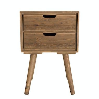 Table de chevet en bois de sapin 2 tiroirs LIMA