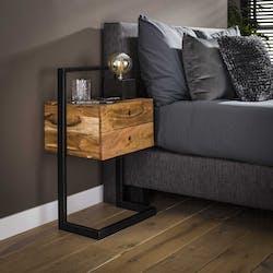 Table de chevet en bois et cadre en métal MELBOURNE