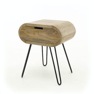 Table de chevet en bois forme oblongue NIAGARA