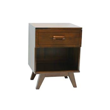 Table de chevet Hévéa 1 tiroir, 1 niche 45x40x60cm SIXTIES