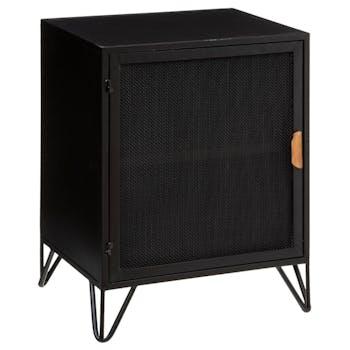 Table de chevet industrielle en métal noir et sapin