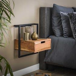 Table de chevet suspendue en bois et métal MELBOURNE