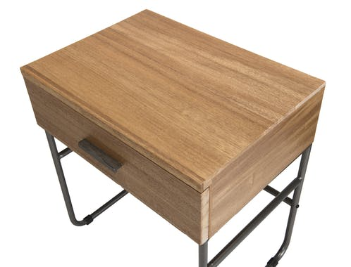 Table de chevet teck style rétro CARPATES