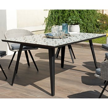 Table de jardin 6 personnes carreaux de ciment 162x102 SUMMER