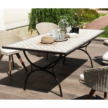 Table de jardin 8 personnes carreaux de ciment 200x100 SUMMER